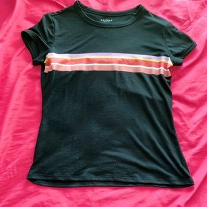 A black tee with colorful stripes